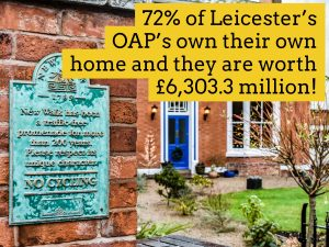 72% of Leicester OAP's own their own home (and they are worth £6,303.3m)